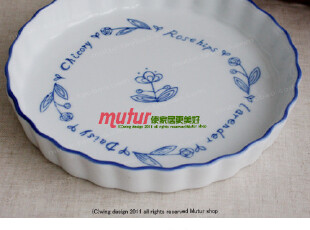 【陶瓷盘】日本进口 蓝色信笺花边盘/日式zakka复古烘焙盘子,盘碟,