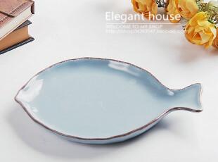 餐具 餐盘 陶瓷 地中海风格 典雅 鱼形盘,盘碟,
