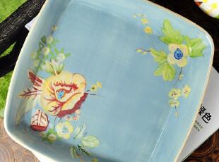 美国大牌TracyPorter手绘陶瓷 方形果盘 托盘沙拉盘 餐具家居,盘碟,