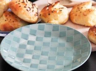 美国SANGO蓝绿色方格甜品盘/早餐盘/小盘 出口 西餐餐具,盘碟,