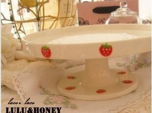 出口欧洲GISELA GKAHAM草莓陶瓷蛋糕托盘 外贸手绘陶瓷 瑕疵(特),盘碟,