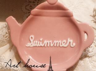 出口欧美 彩色小壶造型陶瓷小碟 零食碟 醋碟 外贸出口余单品,盘碟,