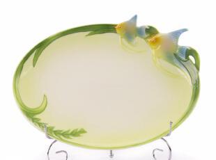 煜日  创意彩绘  精致热带鱼 优质陶瓷盘  居家日用 水果盘,盘碟,