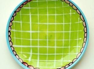 荷兰BLONDAMSTERDAM手绘陶瓷餐具/快乐太太绿色装饰盘/点心蛋糕盘,盘碟,