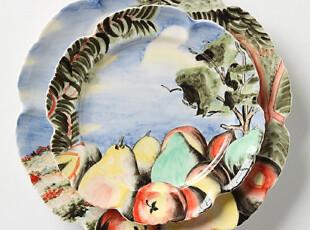 【纽约下城公园】丰收的果园荷叶边陶制餐具,盘碟,