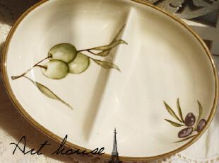 出口欧美 橄榄双格盘 水果沙拉盘 小菜盘 调料盘 醋碟 酱油碟,盘碟,