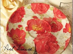 出口欧美红色碎花陶瓷茶盘 蛋糕碟/果盘/零食碟调料碟小吃碟 碟子,盘碟,