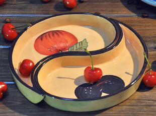 【欧美原单】MAGU彩绘陶瓷组合水滴盘 仿搪瓷 礼品 田园 水果盘,盘碟,