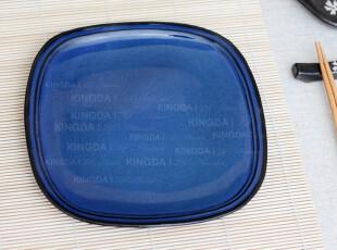 Kingda家居 外贸出口瓷器 宁静宝石蓝 圆角方盘 餐盘 盘子 菜盘,盘碟,