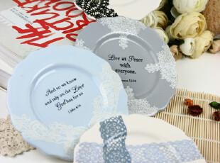 出口日单ZAKKA 复古英文唯美蕾丝花陶瓷盘子 冰裂纹碟子 零食盘,盘碟,