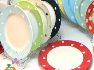 美丽说推荐 盘子 外贸陶瓷 餐盘/菜盘/点心盘 波点水玉系列(5色,盘碟,
