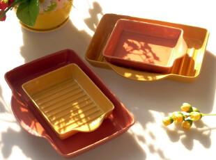 烤箱微波炉用 景德镇外贸环保色釉烘焙模具 陶瓷烤盘 焗饭盘 盘子,盘碟,