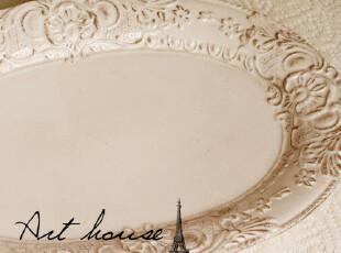 出口欧美复古刷咖啡色浮雕水果盘 西餐盘 鱼盘 陶瓷盘子 外贸尾单,盘碟,