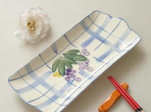 友联瓷行 外贸陶瓷 手绘环保釉下水彩餐具 双耳 长盘 盘子 蔬菜盘,盘碟,