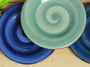 孤品 手绘装饰盘子 陶瓷平盘 蓝色大笔刷组合 四款入,盘碟,