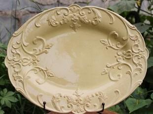 【A grass特价】外贸陶瓷立体浮雕普罗旺斯 大鱼盘 水果盘 装饰盘,盘碟,
