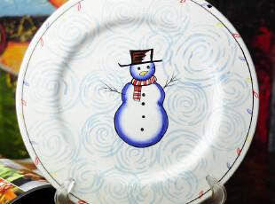 田园牧歌 陶瓷贴绘 雪人10寸盘餐具 瑕疵送盘架,盘碟,