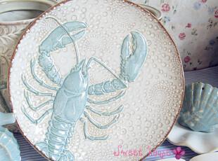 外贸手彩绘陶瓷地中海餐盘菜盘子海洋装饰碟子浮雕海底世界龙虾盘,盘碟,