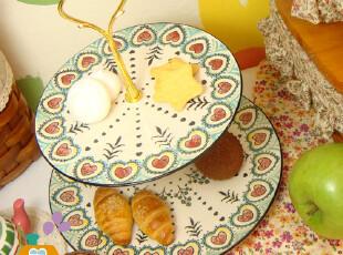 盘子 陶瓷 外贸手绘原单 英式下午茶双层点心盘/水果盘/西餐盘,盘碟,