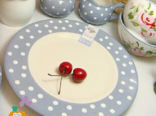 盘子 陶瓷 韩国玫瑰花系列 波点花边 韩式陶瓷盘/西餐盘/蛋糕盘,盘碟,
