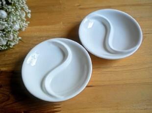 酒店用瓷 陶瓷味碟 瓷 两格碟 纯白 醋碟 餐具 强化瓷 外贸宜家,盘碟,