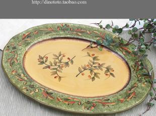 超级值好质量 高档大尺寸手绘手彩陶瓷水果盘糖果杂物装饰盘 实拍,盘碟,