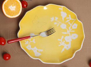 外贸陶瓷 出口欧洲瓷器 西式 黄色花边餐盘 西餐盘 牛排盘菜盘,盘碟,