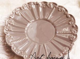 出口欧美星巴克风浮雕复古陶瓷盘 蛋糕碟 零食碟 手绘陶瓷,盘碟,