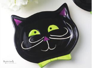 外贸手绘陶瓷 黑猫造型零食盘/罐头盘点心盘 坏笑小黑猫,盘碟,