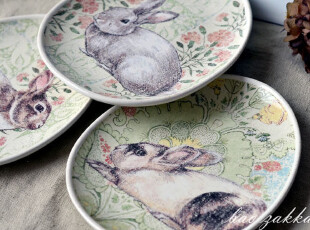 BAO ZAKKA 杂货 欧式蛋形 复古彩色 兔子 蛋形碟 装饰碟 家居饰品,盘碟,
