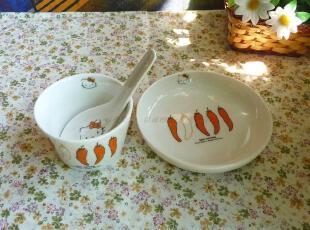 Hello Kitty 外贸 动漫 陶瓷 凯蒂猫 果蔬系列甜品 杯 碟 勺 五款,盘碟,