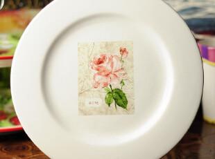 田园牧歌陶瓷 餐具 贴绘玫瑰花盘 10寸平盘 装饰盘,盘碟,
