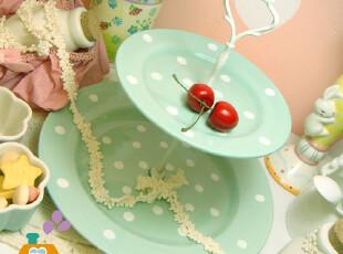 盘子/双层盘 外贸陶瓷 水玉点点复古 点心盘/水果盘,盘碟,