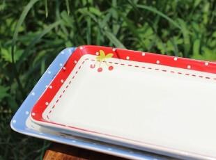 【A grass】外贸陶瓷新鲜.樱桃长条餐盘、水果盘--红蓝2款可选,盘碟,