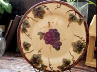 【A grass】外贸陶瓷立体浮雕手绘紫葡萄餐盘果盘装饰盘,盘碟,