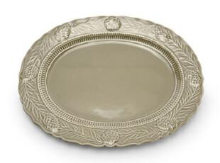欧洲品牌DANNA CULLEN 法式田园松果浮雕素绿色陶瓷椭圆碟 餐碟,盘碟,