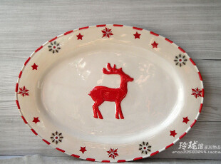 彩绘陶瓷 雪花麋鹿 欧式水果盘点心盘 托盘 装饰坐盘 挂盘 椭圆盘,盘碟,
