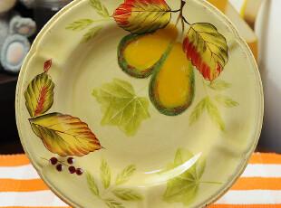 田园牧歌手绘陶瓷精品 秋天果园 香梨平盘盘子餐具装饰家居产品,盘碟,