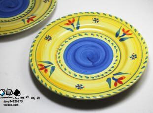 手绘盘 欧式陶瓷餐具 甜品碟子 浅圆盘 盘子陶瓷 餐盘菜盘子350g,盘碟,