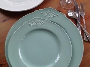 外贸出口余单陶瓷餐具 巴洛克风格 做旧浮雕系列 单耳盘子,盘碟,