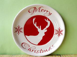 外贸出口 彩绘陶瓷 水果盘 点心盘 装饰盘 雪花麋鹿 小圆盘,盘碟,