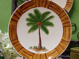 【A grass】外贸手绘陶瓷田园风格椰树餐盘\装饰盘! A,盘碟,