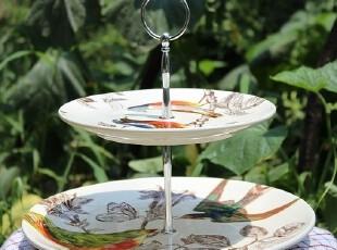 【A grass特价】外贸陶瓷手绘林间小鸟双层蛋糕盘、零食盘、水果,盘碟,