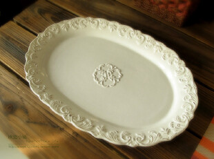 MADISON 白色浮雕花卉维多利亚古典风超大果盘/外贸原单装饰盘,盘碟,
