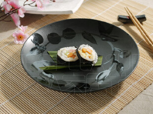 Kingda家居铺子 日本 日式外贸陶瓷餐具 黑藤花 平盘 餐盘 圆盘,盘碟,