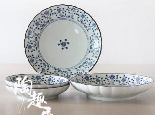【日式餐厅陶瓷】传统和风波唐草凉菜盘 日本原单外贸陶瓷PG0741,盘碟,