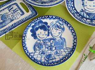 瑕疵blond|蓝色经典|盘|杯|装饰盘|外贸陶瓷|出口餐具|原单尾货,盘碟,