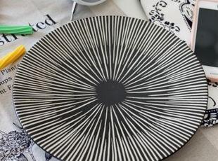 猪猪大爱:Luzerne黑色射线圆盘/甜品盘/菜盘 西餐餐具 出口,盘碟,