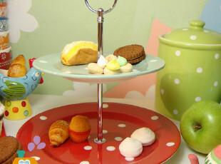 美丽说推荐  波点英式下午茶 双层点心盘/水果盘/西餐盘,盘碟,