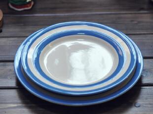 【欧美原单】CORNISHWARE条纹蓝西餐盘 水果盘 复古 外贸 正品,盘碟,